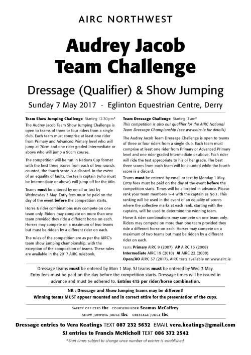 NW Team Challenge 2017 Schedule